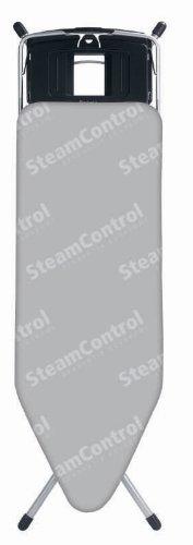 Brabantia Aqua Bowl Steam Control Ironing Board, Size C, 124 x 45cm, 25mm Metallic Grey Frame, Grey Cover by Brabantia