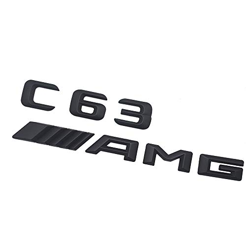 (Ricoy Matt Black Rear 3D C63 AMG Letters Emblem Badge Sticker Logo For Mercedes-Benz C CL CLS E S SL)