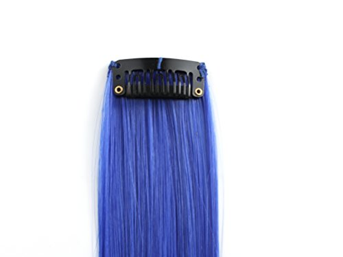 OneDor 23 Inch Colored Party Highlights Straight Hair Clip Extensions. Heat-Resistant Synthetic Hair Extensions in Multiple Colors (Full Color Set 12 Pcs) by Onedor (Image #3)