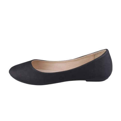 DEMI Toe Ballet 05 Flats Round Women's Pu Black REFRESH dWRxnd