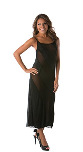 Included G-string - Lena Style Women's Classy Black Mesh Club Dresses Party Evening Dress L