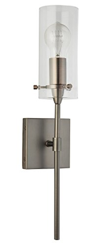 Effimero One Light Wall Vanity Corridor Sconce Lamp, Modern Bronze With  Clear Glass Cylinder Linea Di Liara LL WL31 BRO