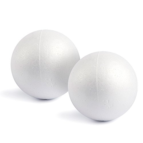 Craft Foam Balls - 2-Pack Large Smooth and Round Polystyrene Foam Balls for Art and Craft Use - Makes DIY Ornaments, Wedding Decor, Science Modeling, School Projects - White, 7.87 Inches in Diameter ()