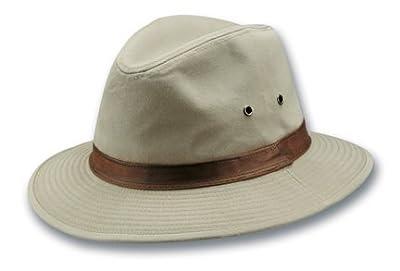 Dorfman Pacific Men's One-Piece Canvas Faux Leather-Trim Safari Hat by Dorfman Pacific Co., Inc