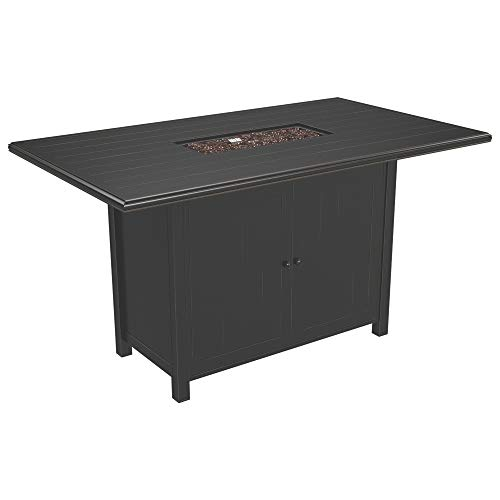 Ashley Furniture Signature Design - Perrymount Outdoor Rectangular Fire Pit Bar Table  - Plank Effect Styling - Storage Doors - Stainless Steel Burner with Glass Beads - Brown (Summer Furniture Cottage Patio)