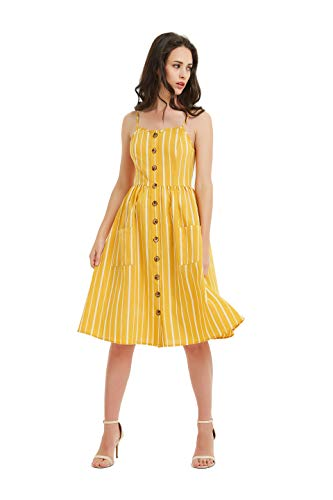(Tronjori Womens Summer Button Front Spaghetti Strap Backless Stripe Swing Midi Dress with Pocket(XS,Yellow))