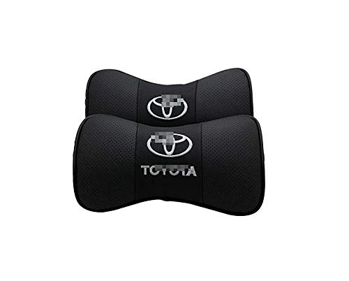 Bone Patterns - Ephan 2 PCS Genuine Leather Bone-Shaped Car Seat Pillow Neck Rest Headrest Comfortable Cushion Pad with Logo Pattern Accessory (for Toyota-2)