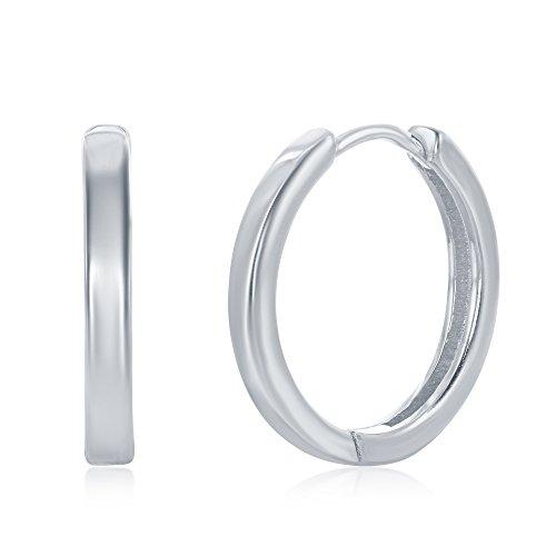 925 Sterling Silver Hoop Earrings for Women Girls Earrings Rounded Huggies for Men (20mm Silver) by AceLay