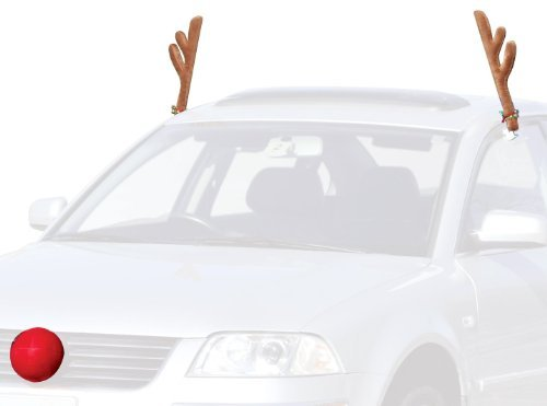 QZYL Car Reindeer Christmas Antlers and Rudolph Nose,Jingle Bell Costume Auto Decoration Set 2 Antlers and 1 Reindeer Nose