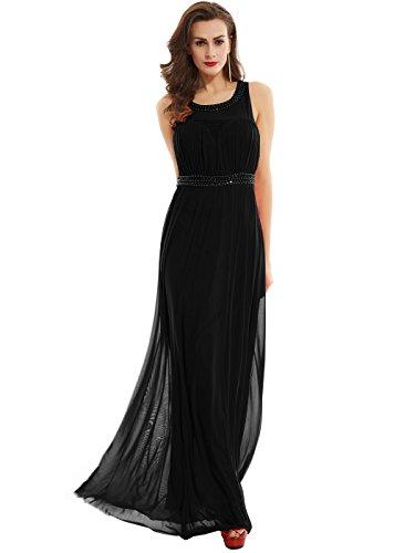 Sisjuly Women's Scoop Neck Beaded Chiffon A Line Evening Dress 16 Black