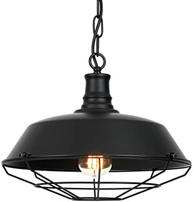 Ivalue Industrial Pendant Light Vintage Metal Black Barn Cage Dome Lampshade Pendant Hanging Light Fixture for Kitchen