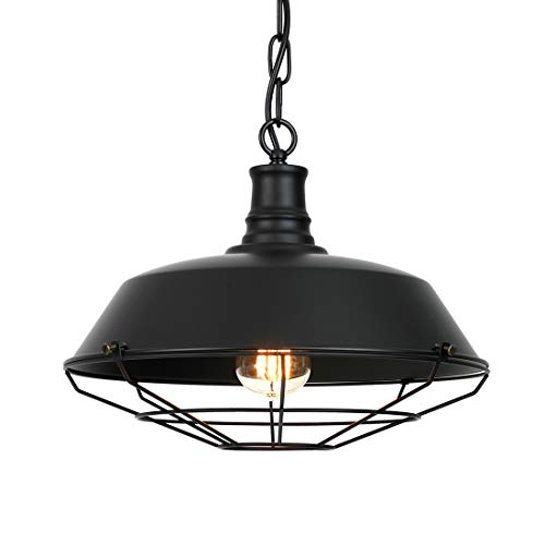 Ivalue Industrial Pendant Light Vintage Metal Black Barn Cage Dome Lampshade Pendant Hanging Light Fixture for Kitchen (Black)