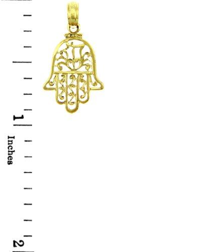 10 ct 471/1000 Charme Juive - Hamsa 14 ct 585/1000 Or Jaune Pendentif