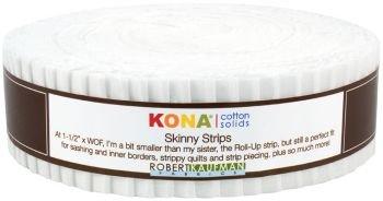 Robert Kaufman SS-102-40 40 Piece Skinny Strips Kona Cotton Solid Fabric, White