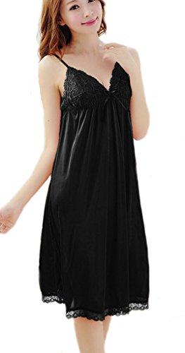 YICHUN Babydolls camisón transparente de encaje cuello en V sin mangas de la mujer camisón tamaño grande Negro