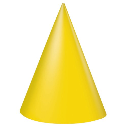 Yellow Party Hats, 8ct -