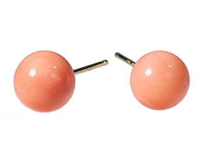 14k Yellow Gold Pink Coral Round Stud Earrings 6mm by ugems