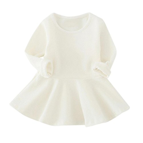 Amlaiworld Baby Mädchen warm langarmshirt kleider bunt Niedlich Kleinkind sport Freizeit kleidung1-4 Jahren Weiß