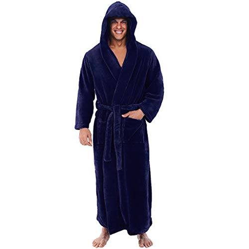 Mingfa Men's Warm Flannel Fleece Robe With Hood, Big And Tall Bathrobe Full Length Full Size for Adults
