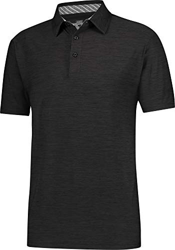 Three Sixty Six Golf Shirts for Men - Dry Fit Short-Sleeve Polo, Athletic Casual Collared T-Shirt Pure Black
