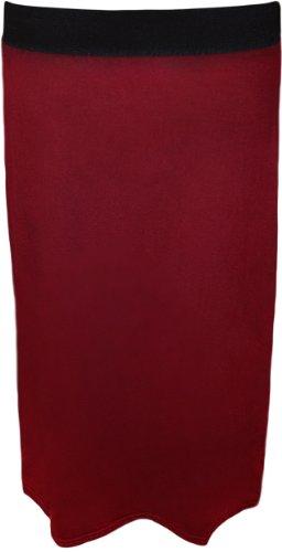 44 Taille Jupes Midi Crayon Jupe Haute Vin 54 Elastique Uni Grandes avec Moulant Femme WearAll Tailles Bx0TzOqUww