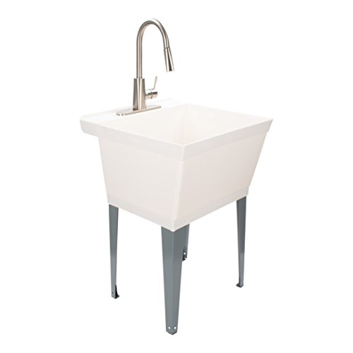 Laundry Sink Utility Tub with High Arc Stainless Steel Kitchen Faucet by Maya - Pull Down Sprayer Spout, Heavy Duty Sinks with Installation Kit for Washing Room, Workshop, Basement, Garage, Slop Sink (Sinks And Tubs)