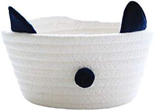 Zhengpin シンプルでかわいい 猫耳収納バスケット 家庭用かご 収納ジュエリー化粧品 ホーム収納ボックス綿ロープ ジュエリー大容量 綿ロープ