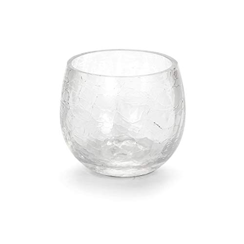 Darice Bulk Buy DIY Crafts Votive Candle Holder Roly Poly Clear Crackle Glass (6-Pack) GL6357