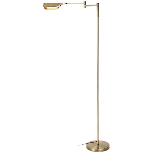 Brightech Leaf LED Reading and Task Floor Lamp- Dimmable 12.5 Watt LED Standing Pharmacy Lamp Pivoting Head for Living Room Sewing Bedroom Office - Antique Brass