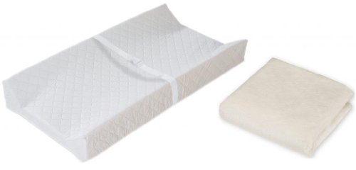 Summer Infant Contoured Changing Pad with Heavenly Soft Changing Pad Cover, Ecru - Chenille Contoured Changing Table Cover