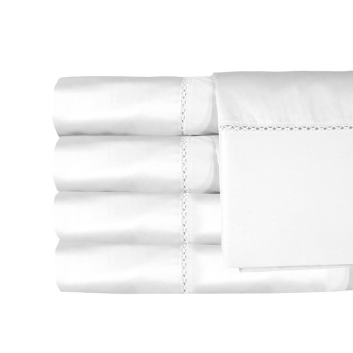 Veratex The Bella Collection Contemporary Style 500 Thread Count 100% Cotton Sateen Luxury Bedroom Sheet Set, Twin Size, White by Veratex