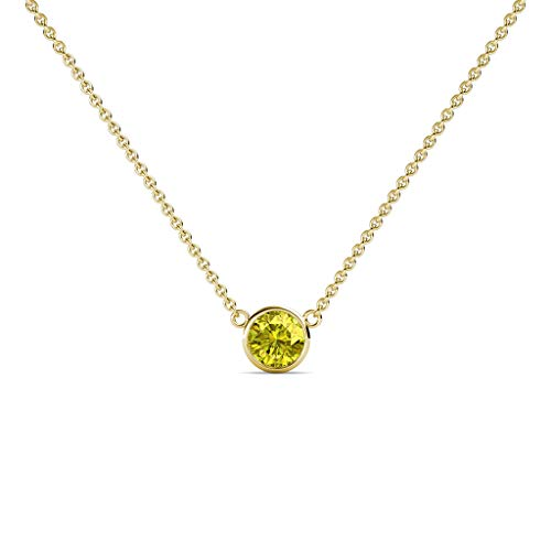 TriJewels Round Yellow Diamond 0.33 ct Bezel Set 4.4mm Womens Solitaire Pendant Necklace 14K Yellow Gold with 16 Inches Gold Chain ()
