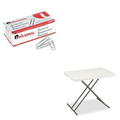 KITICE65490UNV72220 - Value Kit - Iceberg IndestrucTable TOO 1200 Series Resin Personal Folding Table (ICE65490) and Universal Smooth Paper Clips (UNV72220) by Iceberg