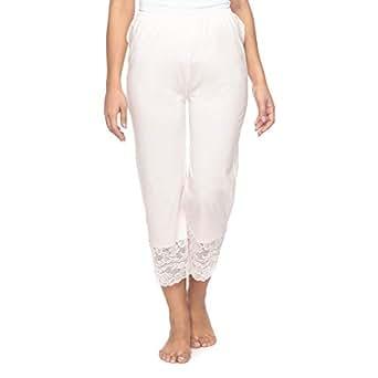 Mark-On Off White Straight Capris Pant For Women