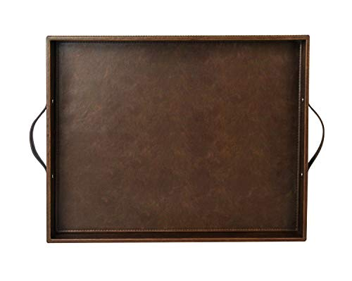 Ms.Box Utility Rectangular Serving Tray with Handles, Coffee Tray for All Occassion's, PU Leather, Brown, 17.7 x 13.8 x 2 inches