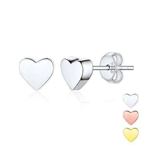 (Hypoallergenic 925 Sterling Silver Minimalist Heart Earrings Studs Mini Dainty Love Heart Stud Earrings for Women Girls)