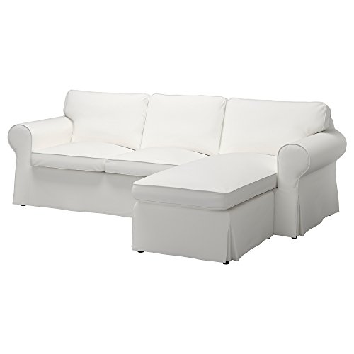 IKEA Original Ektorp Cover for Sofa with Chaise, 3-Seat Sectional (Cover Only (Vittaryd White)