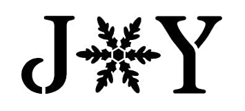Joy Stencil by StudioR12 | Vintage Serif Snowflake Word Art - Reusable Mylar Template | Painting, Chalk, Mixed Media | Use for Journaling, DIY Home Decor - STCL1262 SELECT SIZE (17 x 8.5) Studio R 12