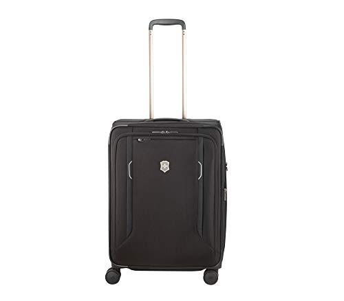 Victorinox WT 6.0 Softside Spinner Luggage, Black, Checked-Medium (24″)