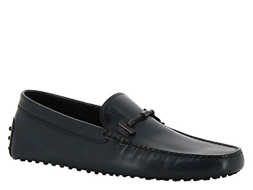 tods-mens-dark-blue-navy-leather-loafers-shoes-size-44-eu
