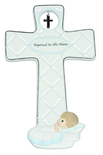 Precious Moments, Baptized In His Name, Boy, Bisque Porcelain Cross, - Outlets Foley Hours