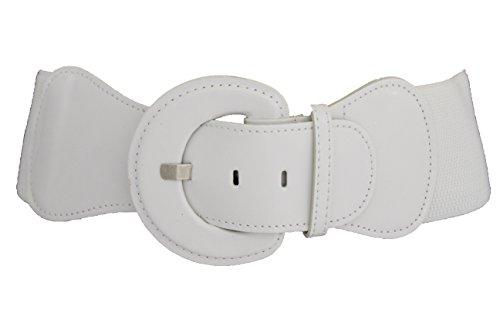 TFJ Women Fashion Belt Hip High Waist Elastic Band Plus Size M L Xl Pure True White (Leather Patent Wide Cinch)