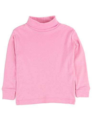 Leveret Solid Turtleneck 100% Cotton (6 Years, Light Pink)