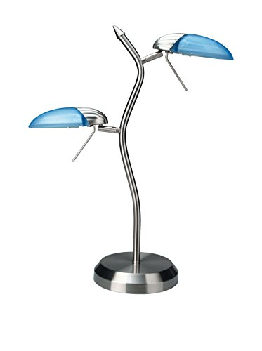 Blue Glass Halogen Table Lamp - Lite Source LS-309PS/L/BLU Dancer Halogen 2-Lite Table Lamp, Polished Steel with Light Blue