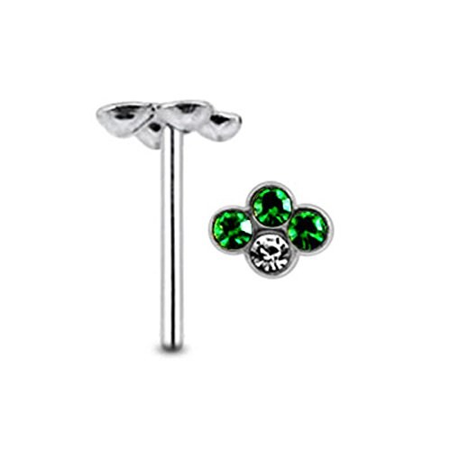 X Mystique Men Costume (Dark Green Gem shape with Clear Stone Sterling Silver Straight Nose pin Body)