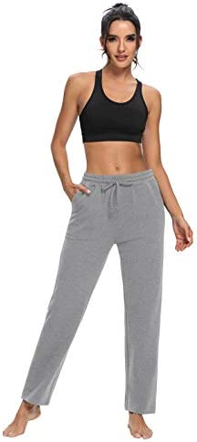 ZJCT Womens Cotton Sweatpants Straight-Leg Active Yoga Workout Joggers Pants Drawstring Loose Lounge Pants with Pockets 5