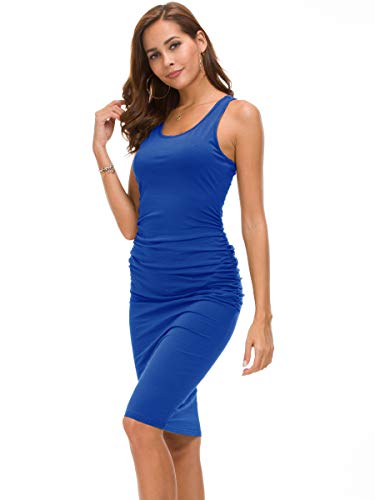 (Missufe Women's Ruched Bodycon Sundress Midi Fitted Casual Dress (Blue, Medium))