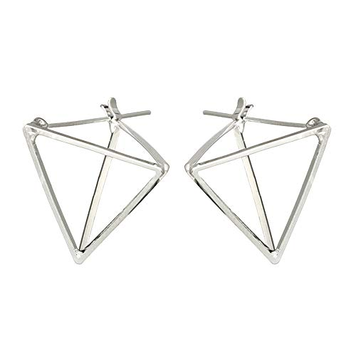 Simple Creative Geometric Three-dimensional Triangle Hollow Earrings Personality Cool Earrings (Silver) (Polygon Modeling)