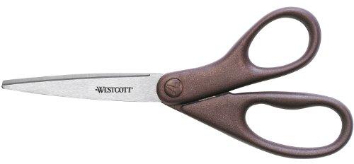 "Westcott All Purpose Design Line Stainless Steel Scissors, 8"" Straight, Metallic Burgandy"