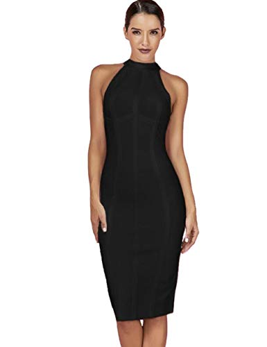 - Maketina Women's High Neck Sleeveless Striped Bodycon Midi Cocktail Party Bandage Dress Black XS